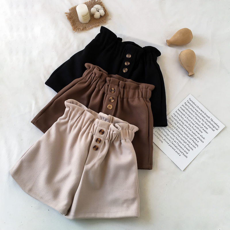 New women high waist shorts winter thick Solid Casual Loose elastic waist korean style woman Bottom Button Autumn Ladies Short