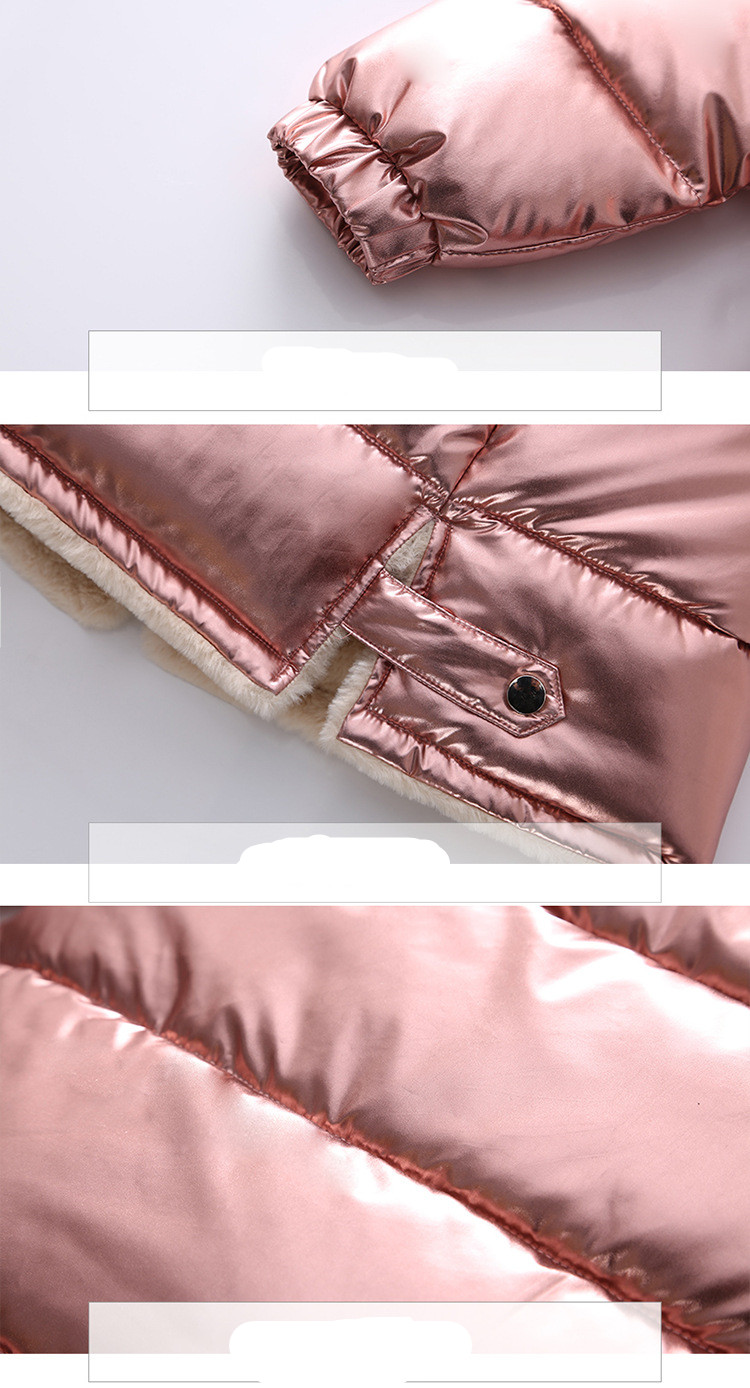 Image 5 - 2019 Girls winter jacket kids down cotton coat Waterproof snowsuit pink Gold silver jacket Hooded parka girls down coats-in Down & Parkas from Mother & Kids