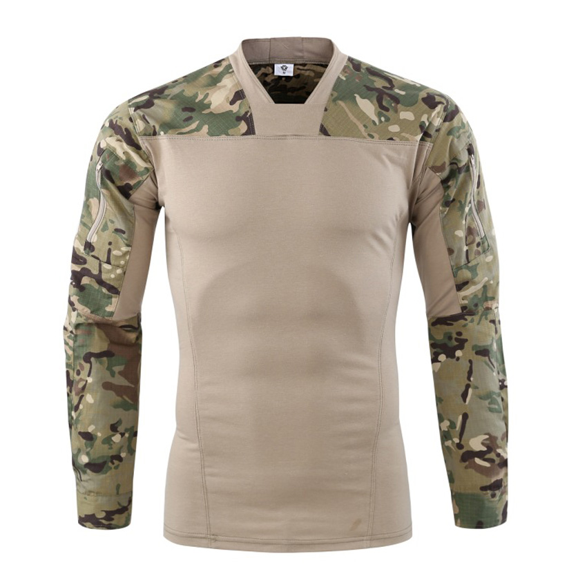 Men's Military T-Shirts Full Sleeve Slim Fit Spring Casual Camouflage Shirts Male Autumn Army Tactical Fashion Men Brand LA742