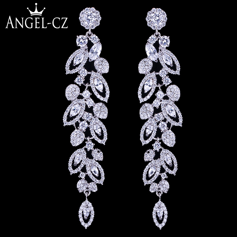 ANEGLCZ Statement Korean CZ Jewelry Elegant Marquise AAA Cubic Zirconia Super Long Drop Bridal Wedding Earrings For Women AE184 ...