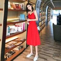 2019 Spring Sleeveless sling Gauze Lace Women Tunic Basic Long Summer Dress