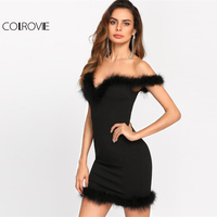 COLROVIE 2017 Bodycon Dress Faux Fur Trim Sweetheart Bardot Party Dress Ladies Off The Shoulder Short