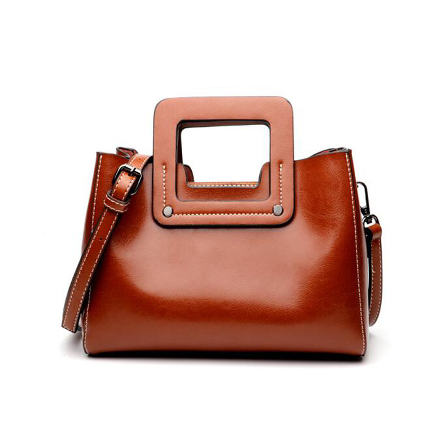 WOMEN Genuine Leather handbags 2018 women clutch shoulder bag vintage Oil wax bag Fashion Brand Real Natural messenger bag new 2017 fashion brand genuine leather women handbag europe and america oil wax leather shoulder bag casual women