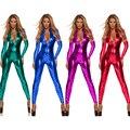 4 Colores 2016 de Cuero de Imitación Catsuit Lencería Sexy Mujeres de Cuero Erótica Mono Del Mono Clubwear Polo Traje