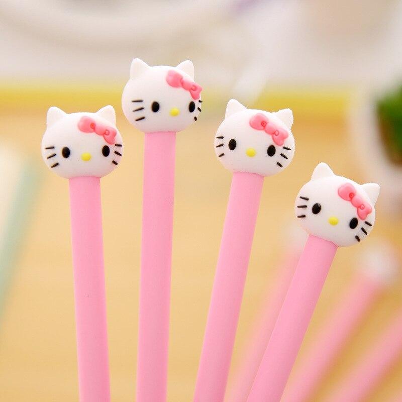 4 Pcs  Hello Korean Stationery Cartoon Cute Kitty Pen Advertising Pink Gilrs Gel Pen School Fashion Office Kawaii Supply