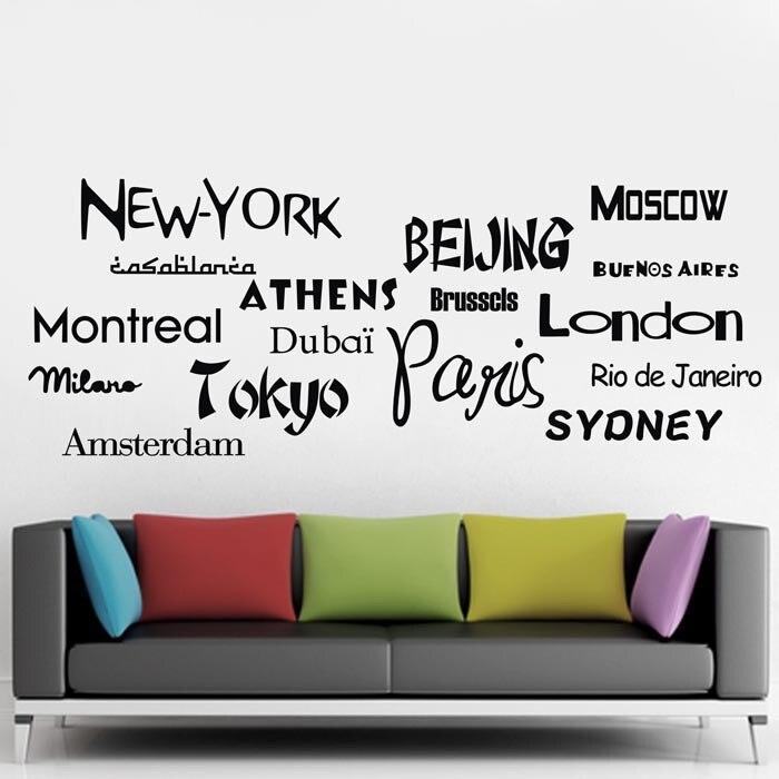 esd nueva york londres pars pared de vinilo pegatinas cita los nombres de ciudades del mundo