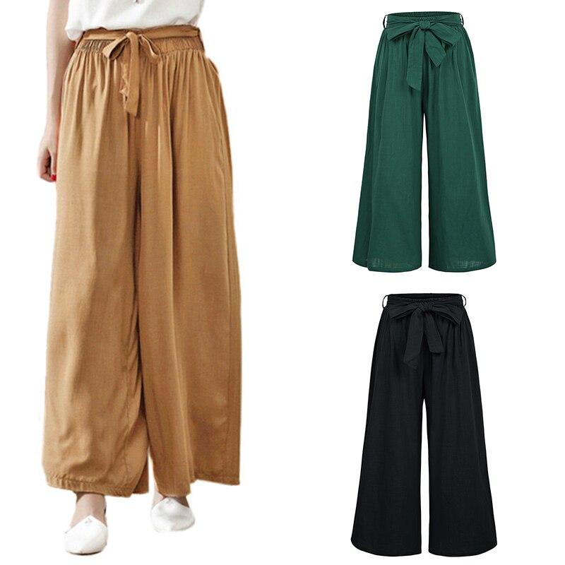 Fashion Women Solid Long   Pant   Casual Loose   Wide     Leg     Pants   Belt Elastic Waist Soft Comfortable Trousers Pantalon Femme Plus Size