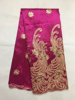 Latest Embroider Nigerian George Lace High Quality New Silk African George Fabric Red+Gold Sequin Fabric Women Party B8G1-3