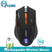 AZZOR Charged Silent Wireless Optical Mouse Mute Button Noiseless Gaming Mice 2400dpi Built-in Battery For PC Laptop Computer