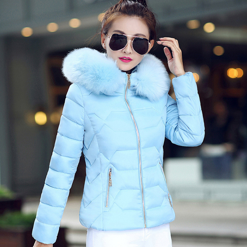 Winter Short Women Jacket Coat Cotton Warm Fur Hooded Parkas Women Outwear Zip Casual Fashion Black Warm Female Coats WT4583 11