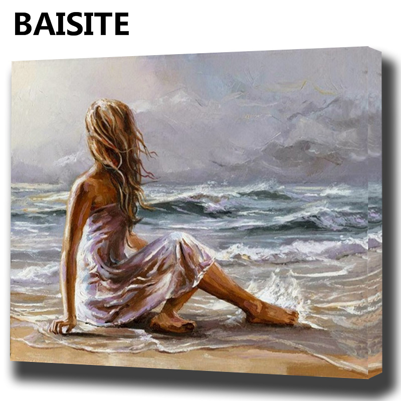 BAISITE DIY Framed Oil Painting By Numbers Flowers Pictures Canvas Painting For Living Room Wall Art Home Decor E957