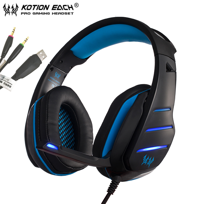 KOTION EACH GS800 casque Stereo Gaming Headphones 3.5mm PC Gamer Headset with Mic and Le ...