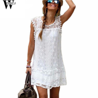 2015 Summer New Fashion Women White Lace Dress Casual O Neck Sleeveless Tassel Patchwork Loose Dresses