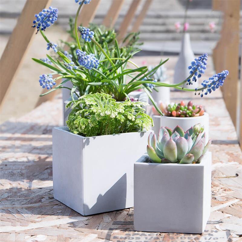 Silicone concreto moldes geométricos vasos de flores