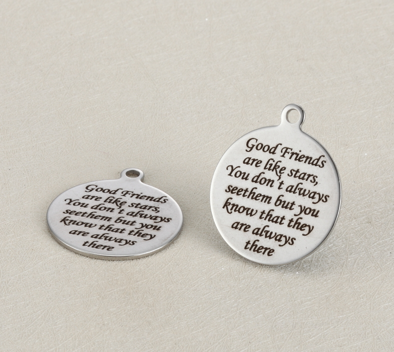 20pcs/lot 25mm Stainless Steel Charms Engraved Good Friends are like stars,You dont always see...  For Diy Jewellery Making