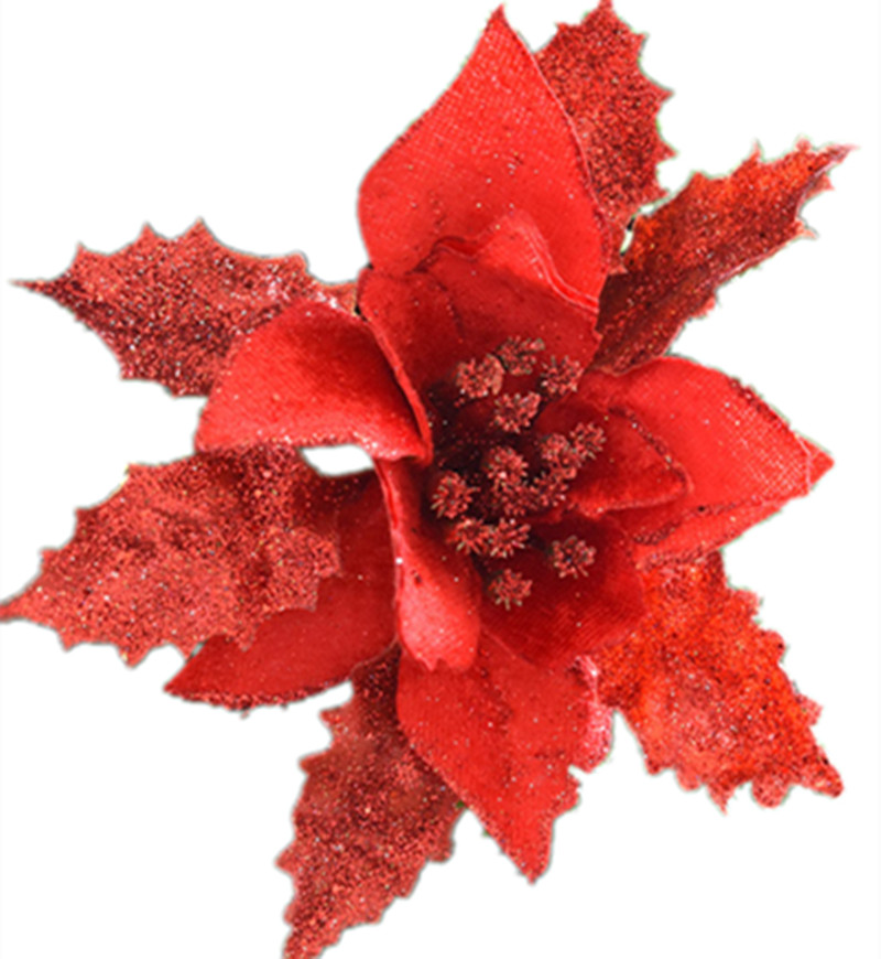 Christmas Flower Decorations.Us 32 37 17 Off Christmas Tree Decoration Flower Red Silver Gold Color High Quality Xmas Flower Decoration Artificial Poinsettia Flower 17cm In
