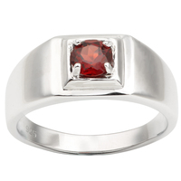 Men Ring Silver 925 Pure Band Natural Red Garnet 5.5mm Gemstone January Birthstone Crystal Jewelry R503RGN