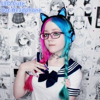 Foldable Cat Ear Cat Headphones With LED Flashing Light Gaming Headset Glowing Earphones For PC Computer