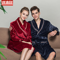 Más grueso pijama traje de la albornoz albornoz pareja hombres y mujeres modelos de otoño e invierno de franela precioso coral velvet manga larga