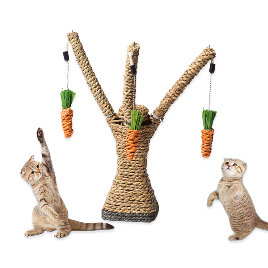 Cat Playing Rope Scratcher Toy Pet Scratching Climbing Tree With Carrots