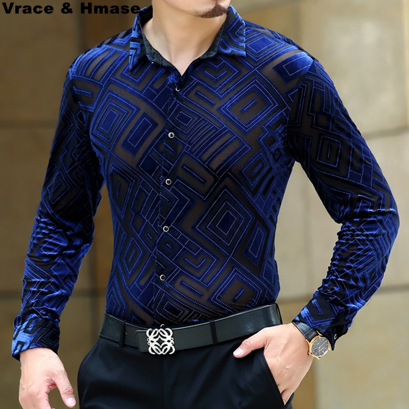 Diamond pattern velvet hollow high end boutique long sleeve shirt 2018 Autumn&Winter silkworm silk soft quality men shirt S 4XL