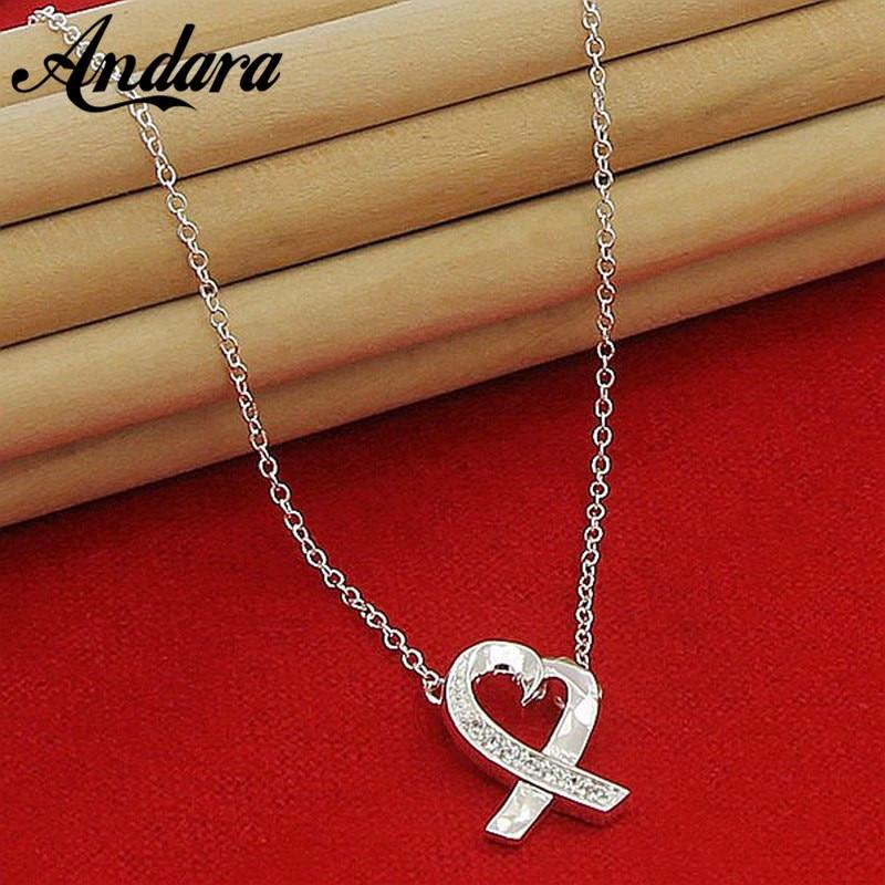 Нежный Серебро 925 Цвет бесконечность любви кулон колье, ясно CZ для Для  женщин вечерние украшения 0fa7a7fb669