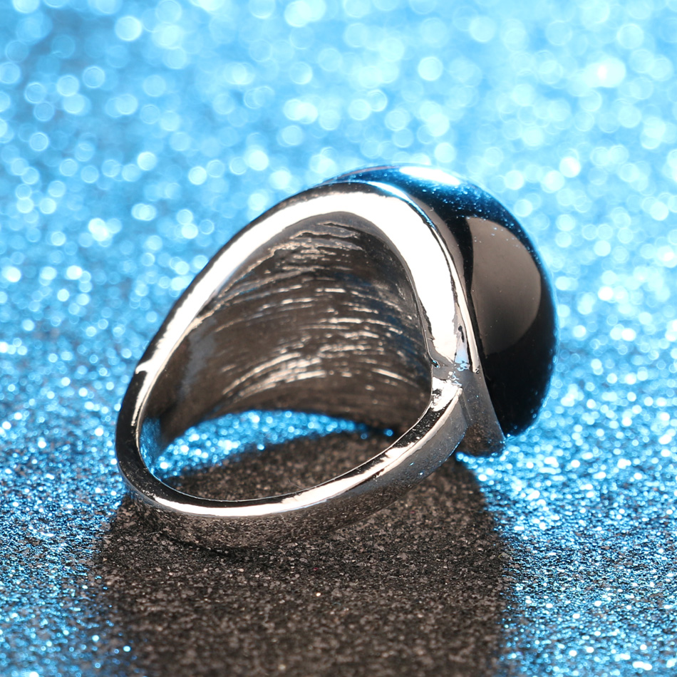Unique Vintage Goth Big Black Stone Rings For Women Punk Rock Silver Color Biker Ring Men Ethnic Tibetan Jewelry Free Shipping