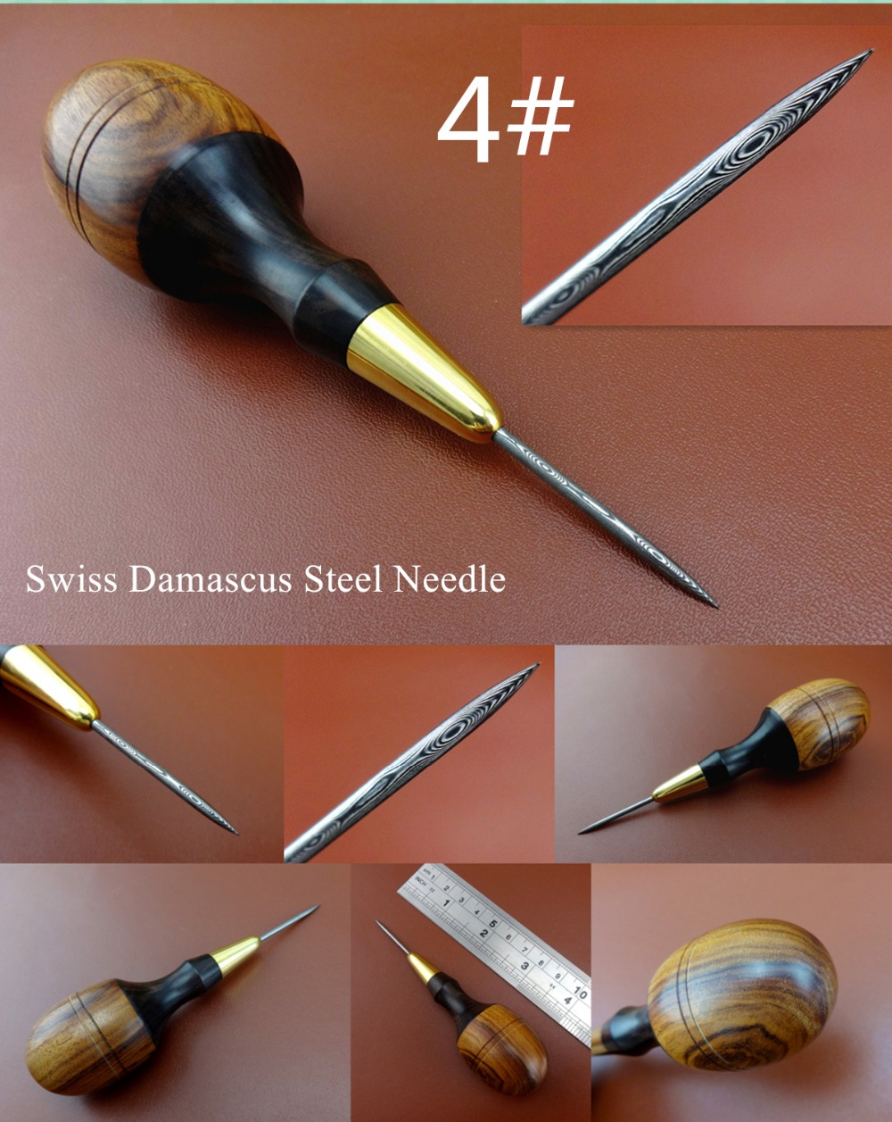 1pc Leather Craft Swiss Damascus Steel Hardwood Handle Round Awl Tool Sewing Carving Stitching Stamping Knife Cutter Punch Chise