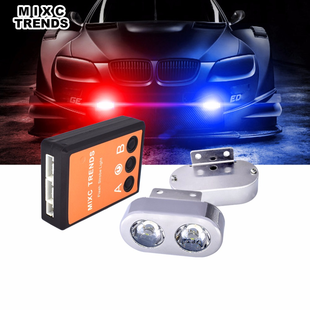1Set Vehicle LED Police Dash Deck Grille Strobe Warning Lights 2 LED Spotlight Emergency Flashing Car Lights 12V Grill Flasher