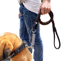 120cm Weaving Leather Dog Training Leashes Pet Supplies with Spring Buffer Prevent Explosion Impact for Medium Large Dogs
