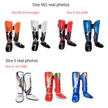 One Pair High-Quality PU Leather Boxing Shin Guards Ankle Protector MMA Muay Thai Training Leg Warmers Light Kicking Shin Pads