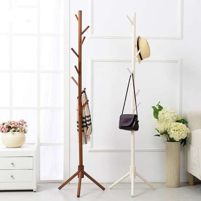 Wood Coat Rack 40X40X176CM Floor Coat Hanger Bedroom Living Room Simple  Fashion Clothes Rack Style