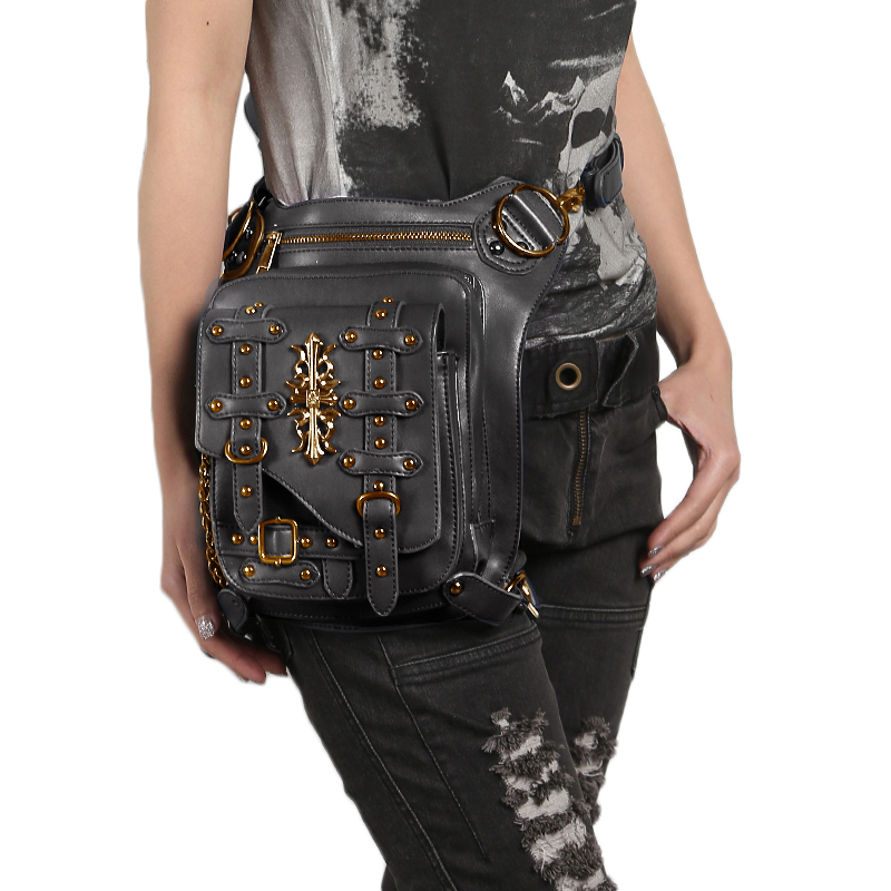 Gothic PU Leather Women Rivets Waist Bag Motorcycle Rider Drop Leg Bag Men Belt Hip Bum Pouch Crossbody Shoulder Bags Thigh Pack