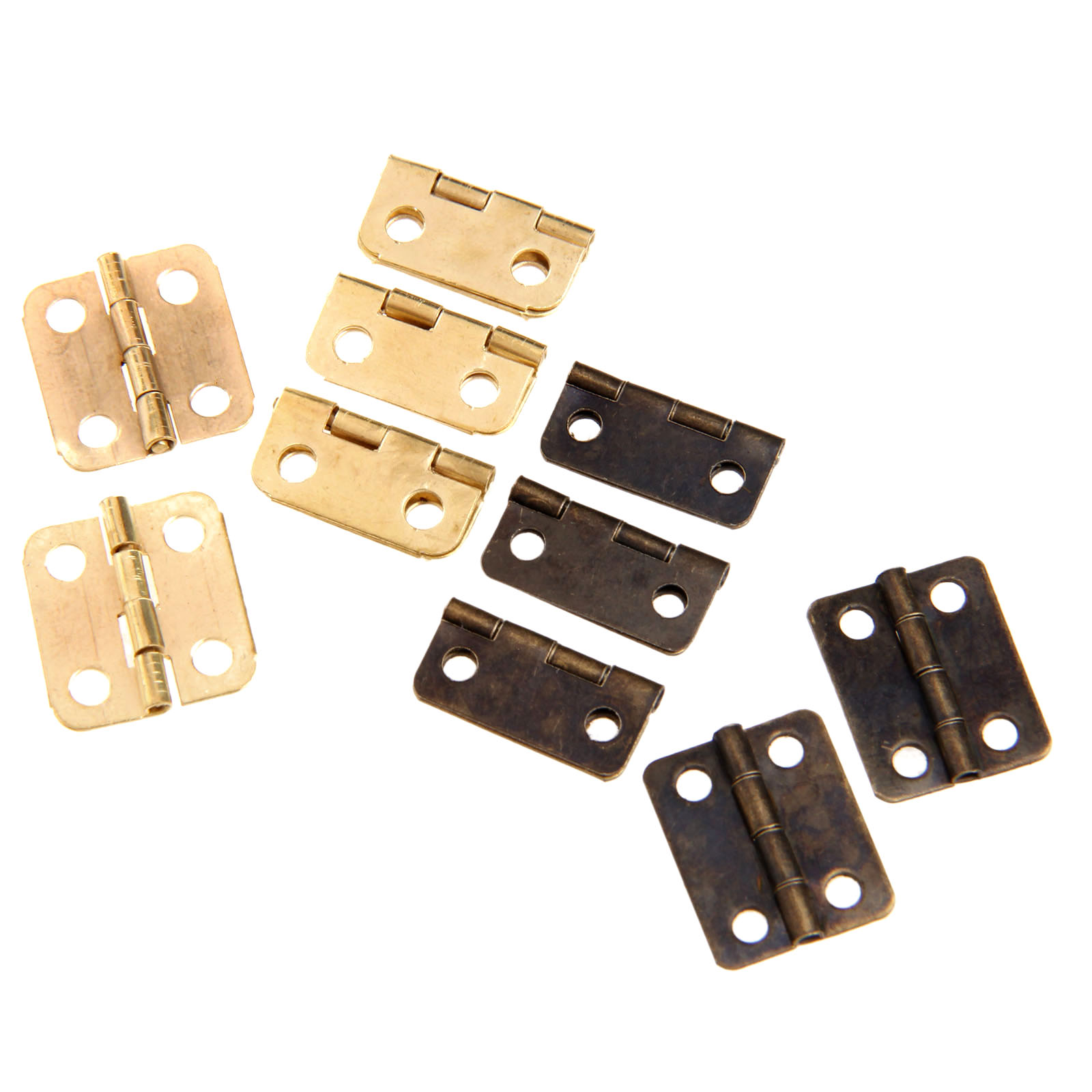 Купить с кэшбэком 50Pcs 16x13mm Antique Bronze/Gold Cabinet Hinges Furniture Accessories Jewelry Boxes Small Hinge Furniture Fittings For Cabinets