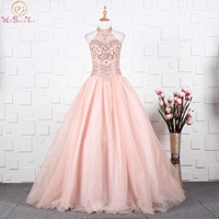 Pink Quinceanera Dresses 2019 Halter Beading Crystal Sweet 16 Graduation Gowns Ball Gown vestido debutante Walk Beside You