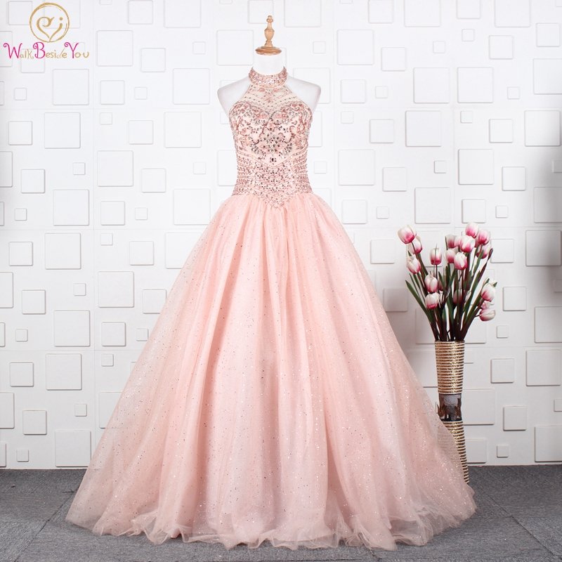 Pink Quinceanera Dresses 2020 Halter Beading Crystal Sweet 16 Graduation Gowns Ball Gown Vestido Debutante Walk Beside You