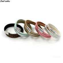 New chic Fashion Punk Wide Cuff Bracelets & Bangle for Women Men Jewelry Accessory Pure Handmade Genuine Men Leather Bracelets(China)