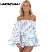 LadySymbol Sexy Off Shoulder Cotton Striped Jumpsuits Romper Women Summer 2017 Beach Flare Sleeve Overalls Women
