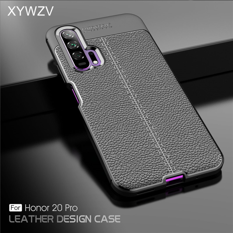 For Huawei Honor 20 Pro Case Luxury PU leather Rubber Soft Silicone Phone Case For Huawei Honor 20 Pro Cover For Honor 20 Pro-in Fitted Cases from Cellphones & Telecommunications
