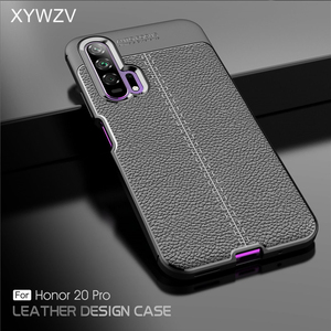 Image 1 - For Huawei Honor 20 Pro Case Luxury PU leather Rubber Soft Silicone Phone Case For Huawei Honor 20 Pro Cover For Honor 20 Pro