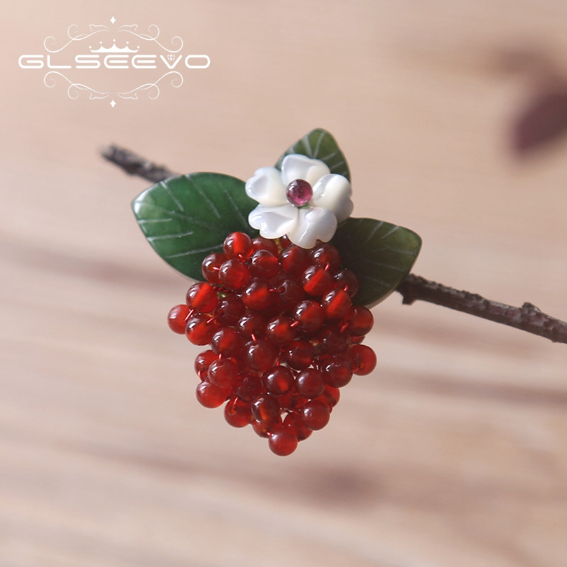 GLSEEVO Natural Red Agate Brooch Pin Natural Jade Stone Leaf Brooches For Women Accessories Dual Use Luxury Fine Jewelry GO0169GLSEEVO Natural Red Agate Brooch Pin Natural Jade Stone Leaf Brooches For Women Accessories Dual Use Luxury Fine Jewelry GO0169