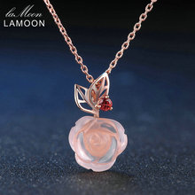 LAMOON Rose Flower 9mm 100% Natural Gemstone Rose Quartz Chain Necklace 925 Sterling Silver Jewelry Rose Gold Plated LMNI025