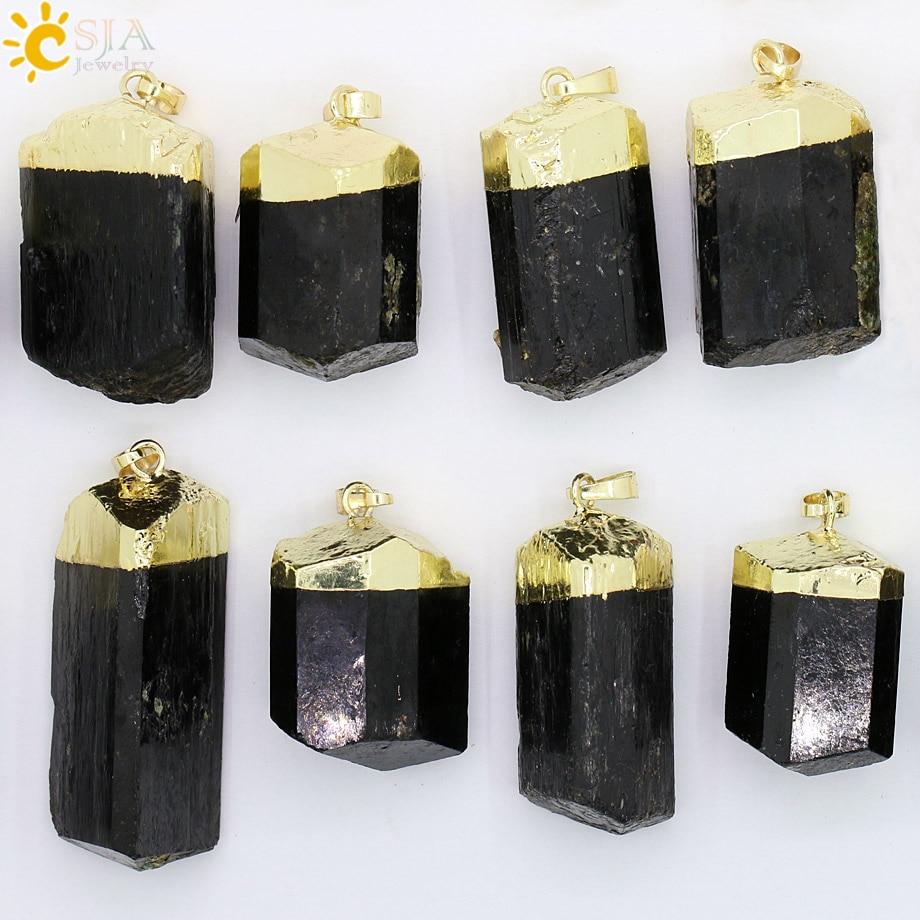 CSJA 1Pc Prirodni crni turmalin ruda Gem Stone iscjeljivanje Reiki - Modni nakit - Foto 4