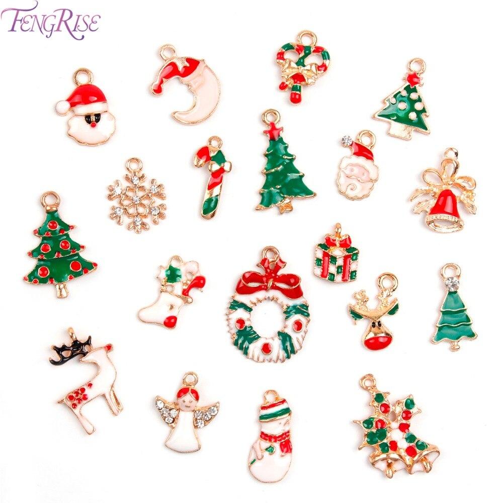 Fengrise 19pcs Christmas Tree Decorations Metal Alloy Pendants Hanging  Charms Santa Claus Christmas Ornaments Party Supplies
