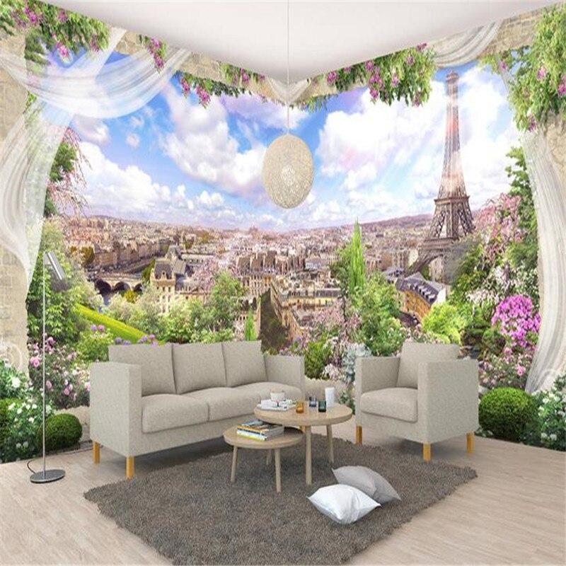 3D Custom Wallpapers Flowers Photo Murals Nature Scenery Blue Sky City Walls Papers for Living Room Sofa Home Decor Eiffel Tower blue sky чаша северный олень