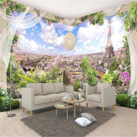 3D Custom Wallpapers Flowers Photo Murals Nature Scenery Blue Sky City Walls Papers for Living Room Sofa Home Decor Eiffel Tower