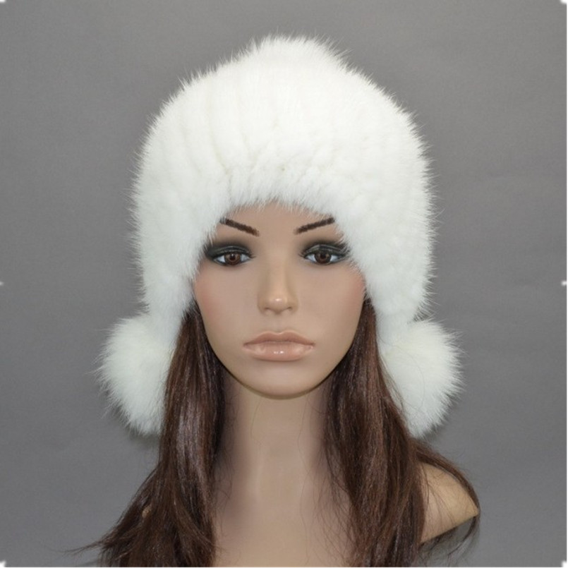 ФОТО Real mink fur hat autumn winter black/white/gray ladies knitted ear protector natural fur cap with  pom furs mink and fox H919