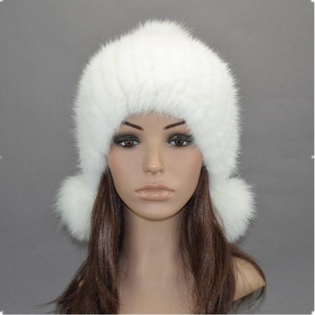 Verdadeira pele de vison chapéu outono inverno preto/branco/cinza de malha senhoras ouvido protetor natural fur cap com pom peles de vison e raposa H919