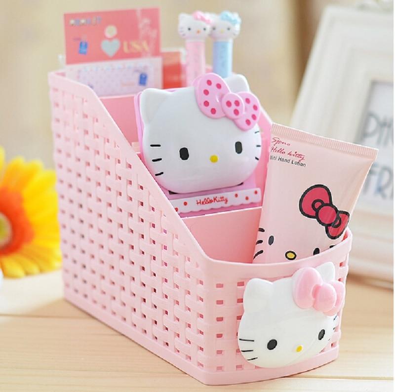 New Trapezoid Hello Kitty Pattern Box Multifunctional Storage Boxes Sub-grid Design Makeup Organizer Pink Desktop Case
