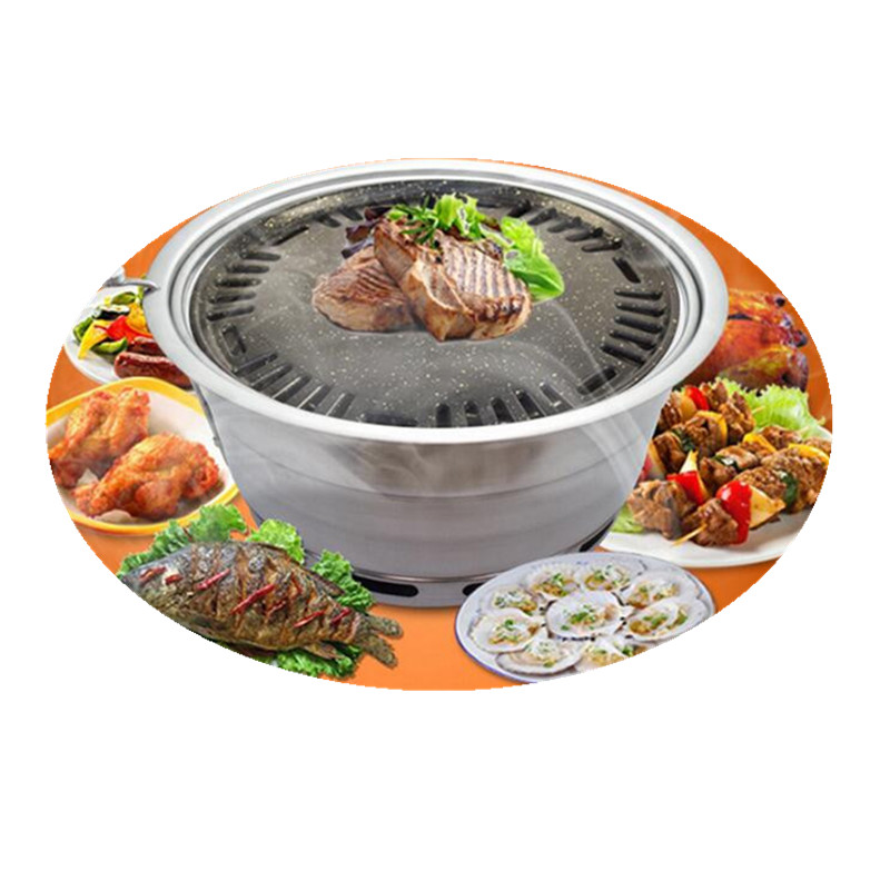 Korean Charcoal BBQ Grill Non-stick Built - in Carbon Oven Upper Exhaust Barbecue Grill Oven Roasting Brazier For Outdoor Party two premium bbq mats the only non slip never stick no mess dishwasher safe grill sheet you ll ever need perfect for cooking baking and for the barbecue 100% satisfaction guaranteed grillite bbq mats